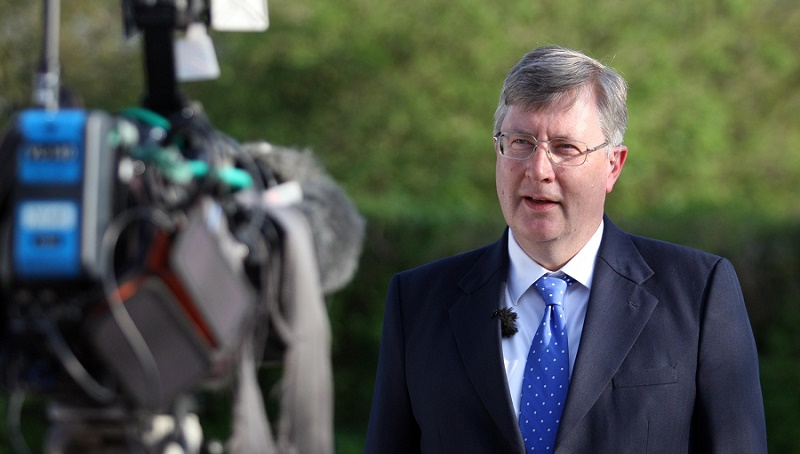 Date: May 7 2016 Location: Colchester, Essex, England. Essex Police and Crime Commissioner Elections 2016. Pictured: Winning candidate for the Conservative Party, Roger Hirst giving a TV interview.