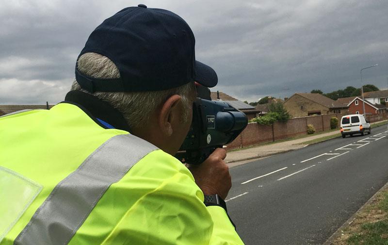 A Community Speedwatch volunteer in action