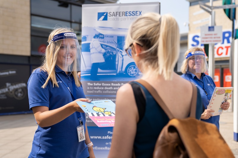 A SERP road safety officer engaging with members of the public